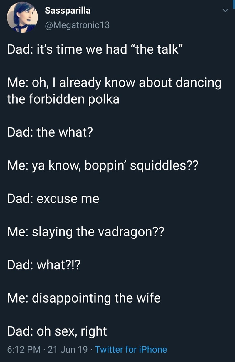 "Text - Sassparilla @Megatronic13 Dad: it's time we had ""the talk"" Me: oh, I already know about dancing the forbidden polka Dad: the what? Me: ya know, boppin' squiddles?? Dad: excuse me Me: slaying the vadragon?? Dad: what?!? Me: disappointing the wife Dad: oh sex, right 6:12 PM 21 Jun 19 Twitter for iPhone"