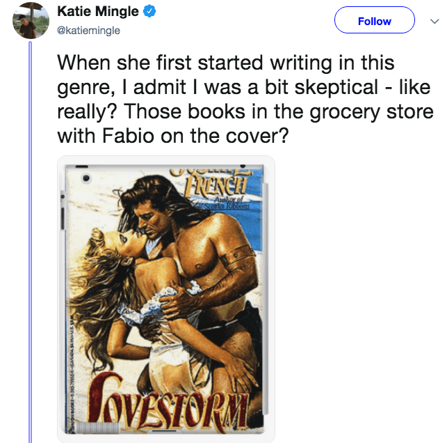 novelist mom - Text - Katie Mingle Follow @katiemingle When she first started writing in this genre, I admit I was a bit skeptical like really? Those books in the grocery store with Fabio on the cover? RENC A SoVESTORA sYansva -xewce9-o0