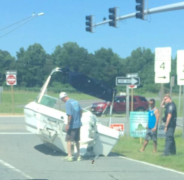 A boat is lost on the road.