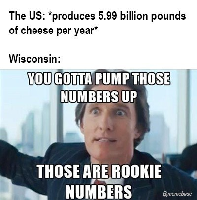 Meme - Text - The US: *produces 5.99 billion pounds of cheese per year* Wisconsin: YOU GOTTA PUMP THOSE NUMBERS UP THOSE ARE ROOKIE NUMBERS @memebase