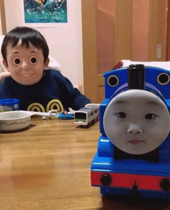 "Blursed image of face swap between little boy and ""Thomas the Tank Engine"" is extra creepy."