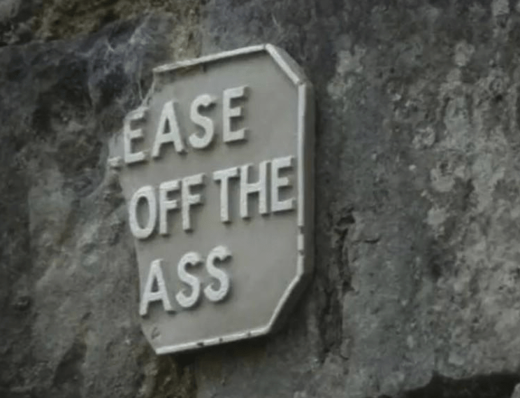 "Blursed image of a damaged sign that reads, ""Ease off the ass."""