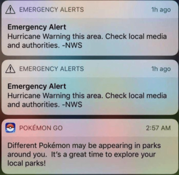 Blursed image of emergency alerts about a hurricane and then a Pokémon Go notification about new Pokémon being in the area.