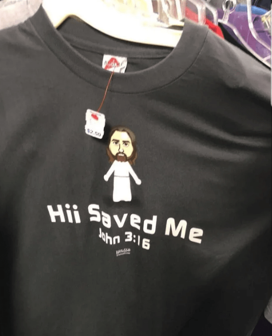 "Blursed image of Jesus Christ in the Mii version saying that ""Hii Saved Me."""