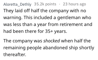 story half of company laid off, the rest quit