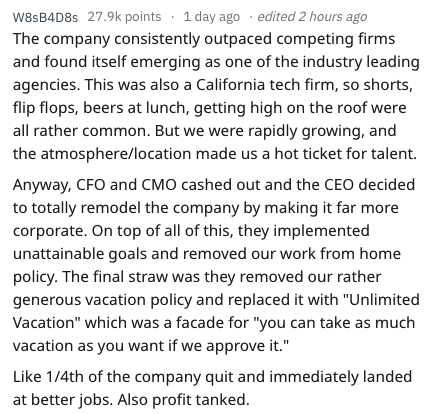 quitting work - Text - w8SsB4D8s 27.9k points 1 day ago edited 2 hours ago The company consistently outpaced competing firms and found itself emerging as one of the industry leading agencies. This was also a California tech firm, so shorts, flip flops, beers at lunch,