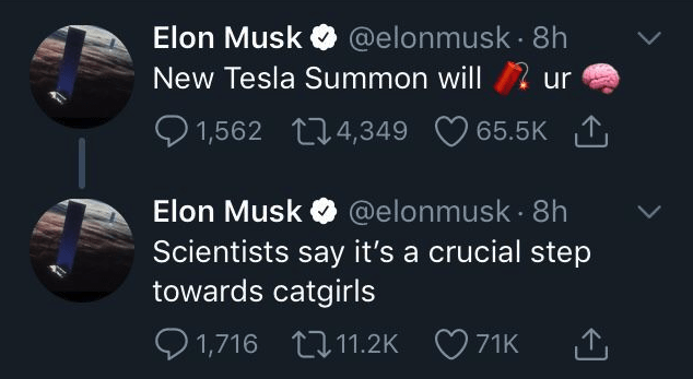 "Blursed image of an Elon Musk tweet reading that the New Tesla Summon will blow people's minds, and that ""scienstists say it's a crucial step towards catgirls."""