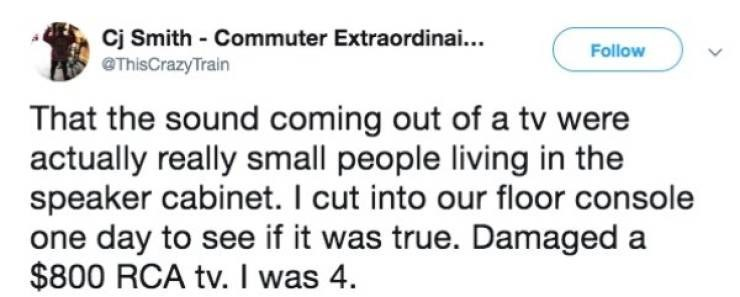 Text - Cj Smith Commuter Extraordinai... @ThisCrazyTrain Follow That the sound coming out of a tv were actually really small people living in the speaker cabinet. I cut into our floor console one day to see if it was true. Damaged a $800 RCA tv. I was 4