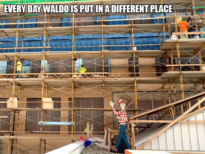 where's waldo hospital - Scaffolding - EVERY DAY WALDO ISPUT IN ADIFFERENT PLACE