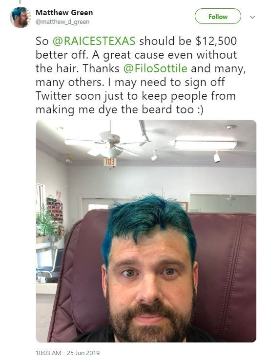Tweet - Hair - Matthew Green Follow @matthew d_green So @RAICESTEXAS should be $12,500 better off. A great cause even without the hair. Thanks @FiloSottile and many, many others. I may need to sign off Twitter soon just to keep people from making me dye the beard too :) 10:03 AM 25 Jun 2019