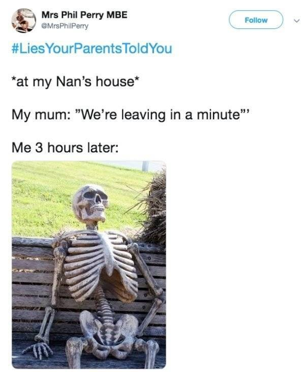 "lies told to kids - Text - Mrs Phil Perry MBE @MrsPhillPerry Follow #LiesYourParents ToldYou at my Nan's house My mum: ""We're leaving in a minute"" Me 3 hours later:"