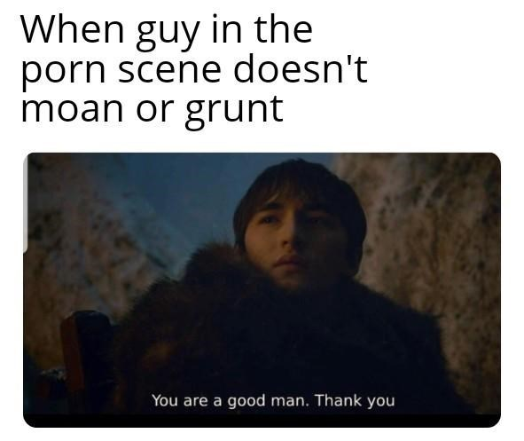 Text - When guy in the porn scene doesn't moan or grunt You are a good man. Thank you