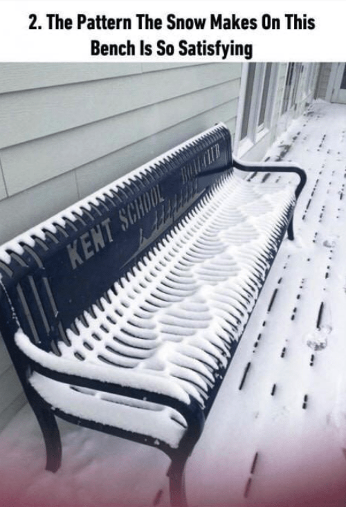 soothing image - Furniture - 2. The Pattern The Snow Makes On This Bench Is So Satisfying KENT SCHOOL