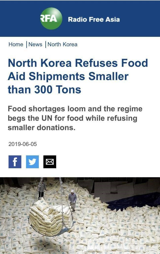 Adaptation - RFA Radio Free Asia Home |News North Korea North Korea Refuses Food Aid Shipments Smaller than 300 Tons Food shortages loom and the regime begs the UN for food while refusing smaller donations 2019-06-05 f