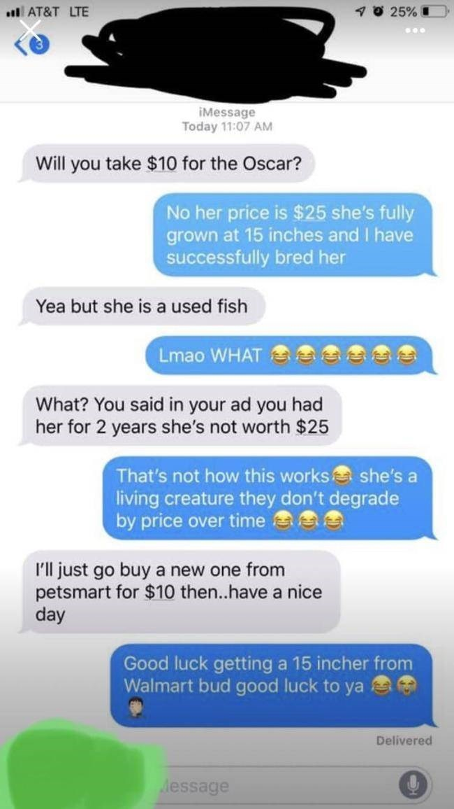 choosing beggar - Text - 25% AT&T LTE iMessage Today 11:07 AM Will you take $10 for the Oscar? No her price is $25 she's fully grown at 15 inches and I have successfully bred her Yea but she is a used fish Lmao WHAT What? You said in your ad you had her for 2 years she's not worth $25 That's not how this works she's a living creature they don't degrade by price over time I'll just go buy a new one from petsmart for $10 then..have a nice day Good luck getting