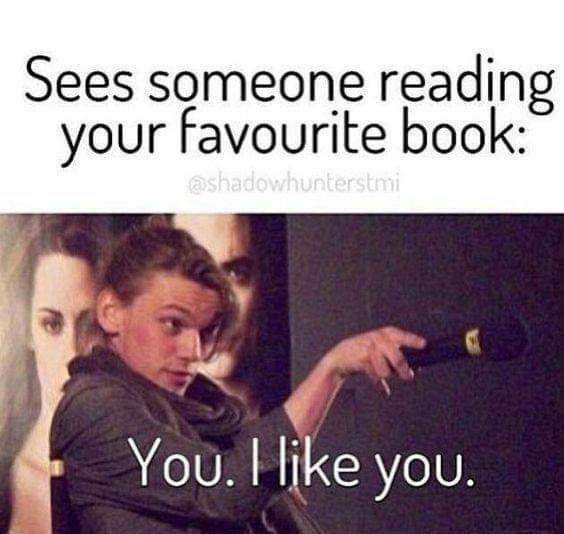Meme - Text - Sees someone reading your favourite book: @shadowhunterstmi You. Hike you.