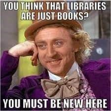 Meme - Internet meme - YOU THINK THAT LIBRARIES ARE JUST BOOKS? YOU MUST BENEW HERE