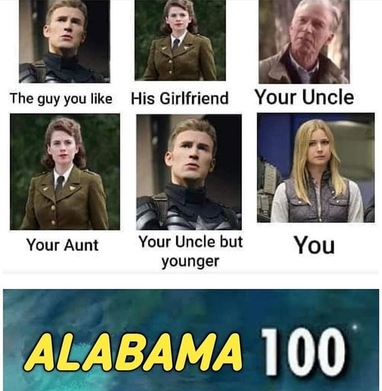 Meme - Facial expression - Your Uncle His Girlfriend The guy you like Your Uncle but You Your Aunt younger ALABAMA 100
