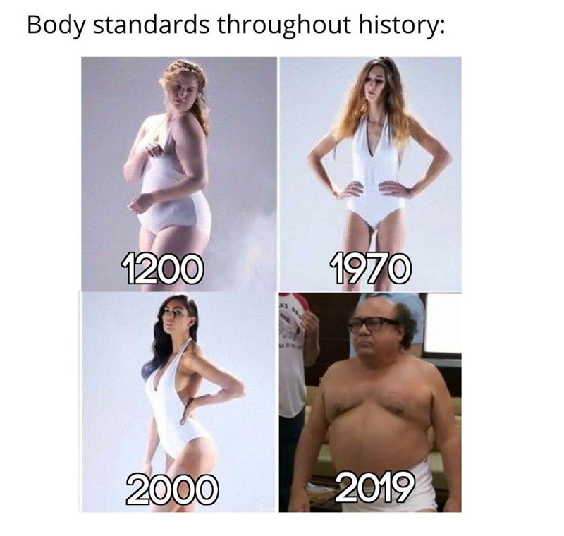 Meme - Clothing - Body standards throughout history: 1970 1200 2019 2000