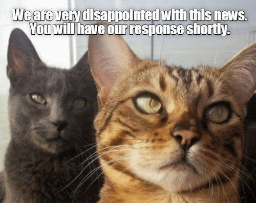 Cat - We are very disappointed with this news. You will have our response shorty.