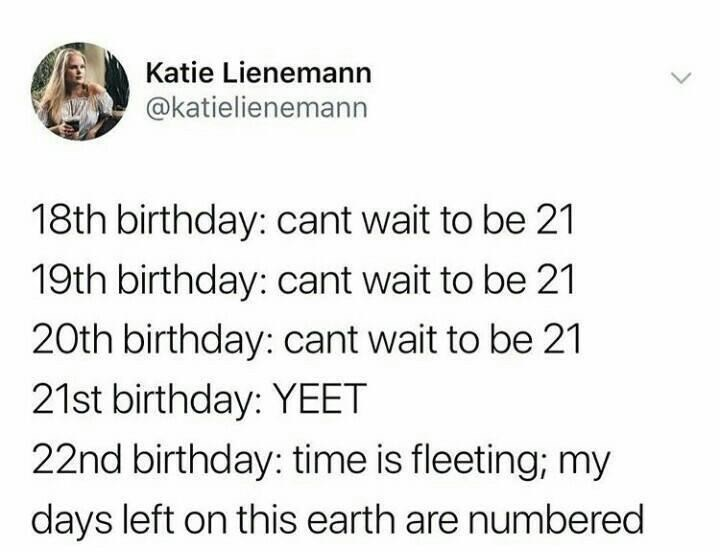 meme - Text - Katie Lienemann @katielienemann 18th birthday: cant wait to be 21 19th birthday: cant wait to be 21 20th birthday: cant wait to be 21 21st birthday: YEET 22nd birthday: time is fleeting; my days left on this earth are numbered