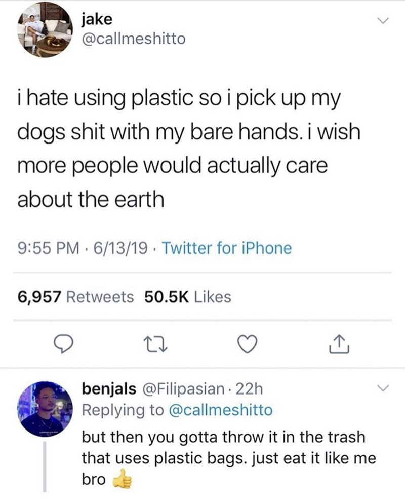 meme - Text - jake @callmeshitto i hate using plastic so i pick up my dogs shit with my bare hands. i wish more people would actually care about the earth 9:55 PM 6/13/19 Twitter for iPhone 6,957 Retweets 50.5K Likes benjals @Filipasian 22h Replying to @callmeshitto but then you gotta throw it in the trash that uses plastic bags. just eat it like me bro