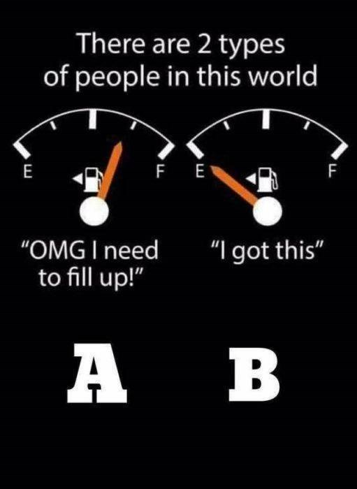 """funny pic - Speedometer - There are 2 types of people in this world F FE E """"OMG I need to fill up!"""" """"I got this"""" A B"""