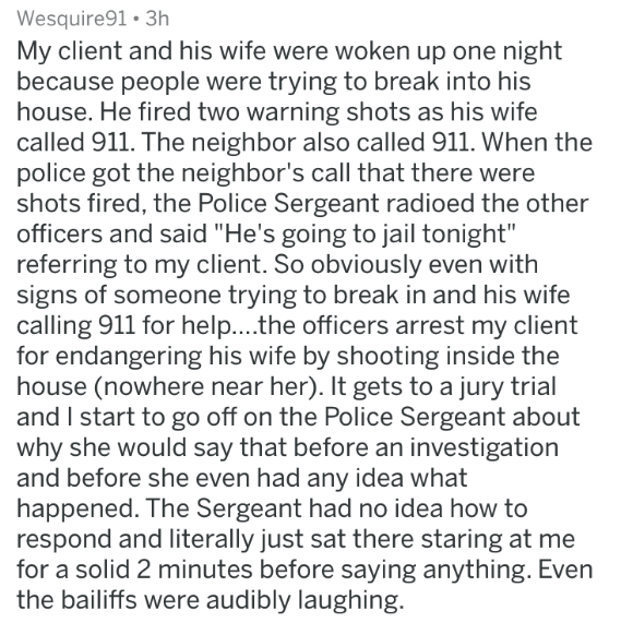 badass lawyer - Text - Wesquire91 3h My client and his wife were woken up one night because people were trying to break into his house. He fired two warning shots as his wife called 911. The neighbor also called 911