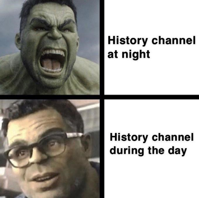 Face - History channel at night History channel during the day