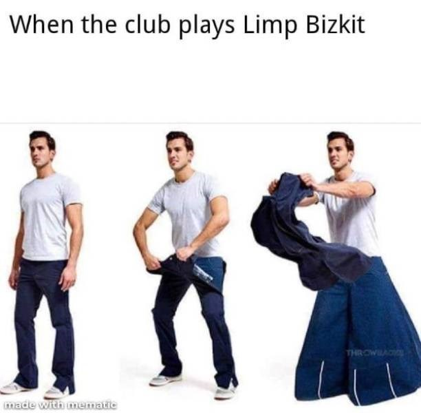 Clothing - When the club plays Limp Bizkit THROWA made with mematie