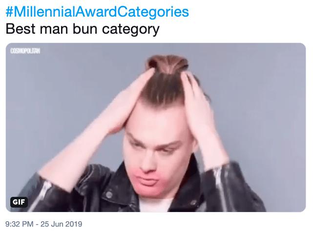 Meme - Hair - #MillennialAward Categories Best man bun category COSMOPOLIGAN GIF 9:32 PM -25 Jun 2019