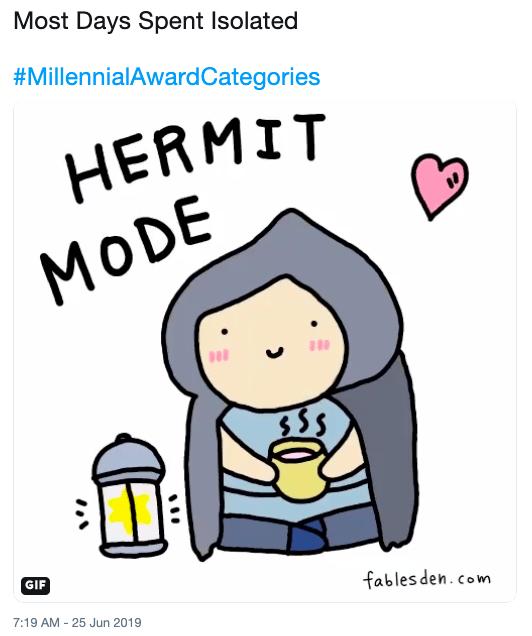 Meme - Cartoon - Most Days Spent Isolated #MillennialAwardCategories HERMIT MODE $5S GIF fables den.com 7:19 AM 25 Jun 2019