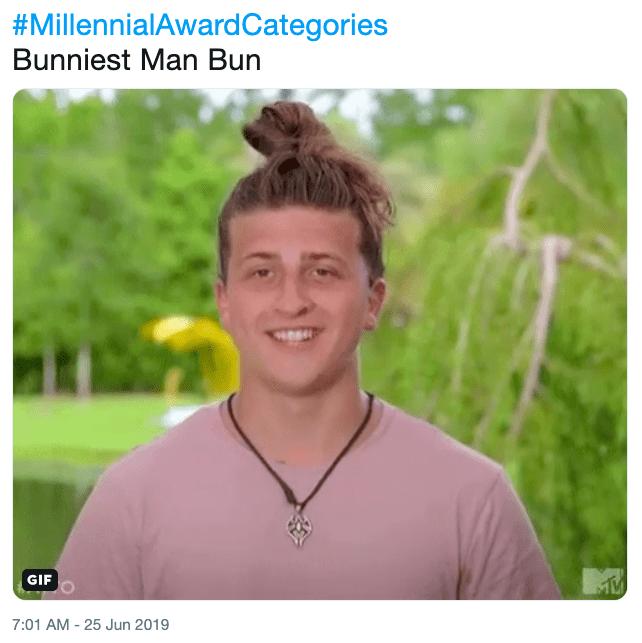 Meme - Smile - #MillennialAwardCategories Bunniest Man Bun GIF 7:01 AM - 25 Jun 2019
