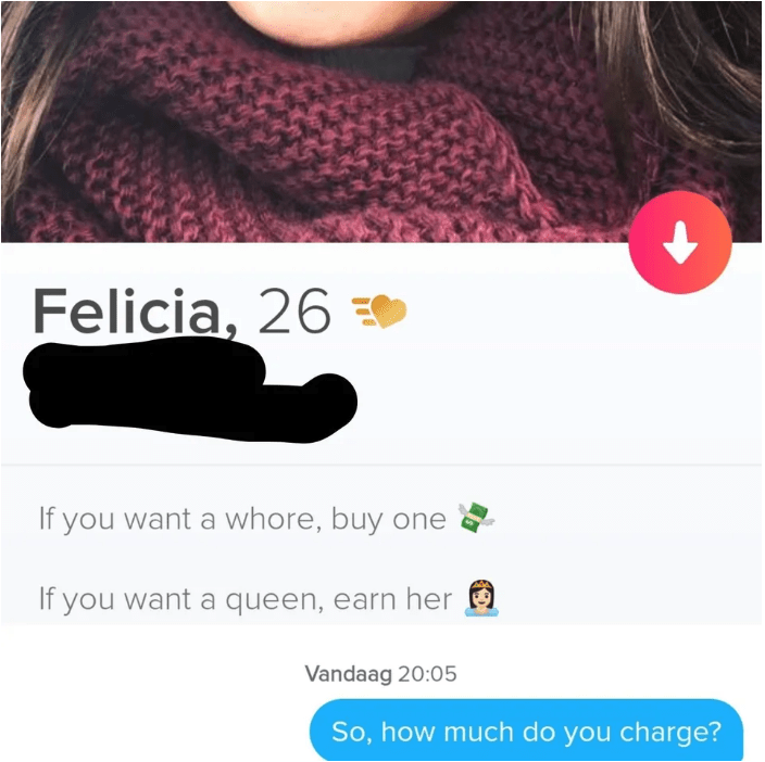 tinder - Text - Felicia, 26 If you want a whore, buy one If you want a queen, earn her Vandaag 20:05 So, how much do you charge?