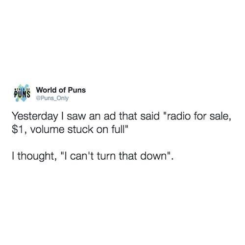 "Meme - Text - PUNS World of Puns Puns Only Yesterday I saw an ad that said ""radio for sale, $1, volume stuck on full"" I thought, ""I can't turn that down"""