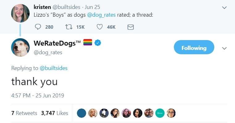 """dog tweet - Text - kristen @builtsides Jun 25 Lizzo's """"Boys"""" as dogs @dog rates rated; a thread: t 15K 280 46K WeRateDogsM Following @dog_rates Replying to @builtsides thank you 4:57 PM 25 Jun 2019 7 Retweets 3,747 Likes"""