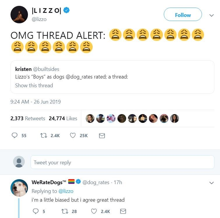 "dog tweet - Text - LIZZO Follow @lizzo OMG THREAD ALERT: kristen @builtsides Lizzo's ""Boys"" as dogs @dog rates rated; a thread: Show this thread 9:24 AM 26 Jun 2019 2,373 Retweets 24,774 Likes t 2.4K 55 25K Tweet your reply WeRateDogsT @dog_rates 17h Replying to @lizzo i'm a little biased but i agree great thread ti 28 5 2.4K 30"