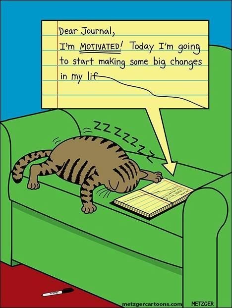 cat napping - Cartoon - Dear Journal, |T'm MOTIVATED! Today I'm going to start making some big changes in my lif 22222zz metzgercartoons.com METZGER