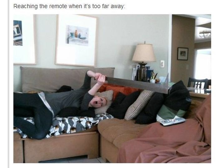 Furniture - Reaching the remote when it's too far away: