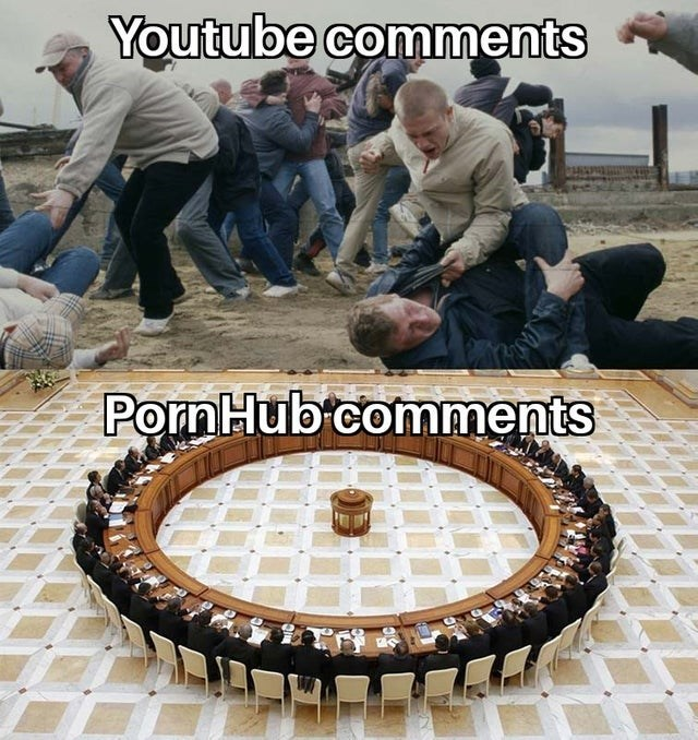 funny meme about youtube comments vs pornhub comments