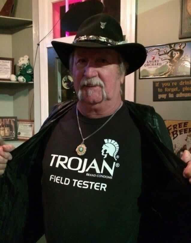 T-shirt - ANGRY ORCHARD If you're drin to forget, plea pay in adva FREE BEER TROJAN BRAND CONDOMS FIELD TESTER