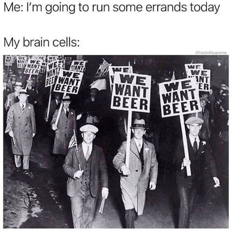 Meme - Font - Me: I'm going to run some errands today My brain cells: @heckolsuprome WE WANT WE CANT BEERAN AE WE INT VWE WANT WE ER BEER WANT FEE WANT BEER BEER