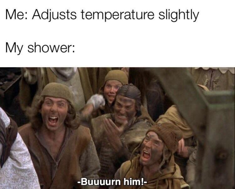 shitpost - Adaptation - Me: Adjusts temperature slightly My shower: -Buuuurn him!-