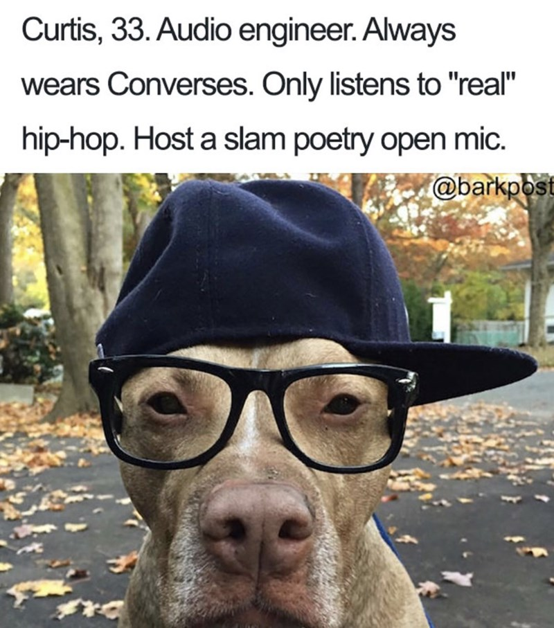 """Canidae - Curtis, 33. Audio engineer. Always wears Converses. Only listens to """"real"""" hip-hop. Host a slam poetry open mic @barkpost"""