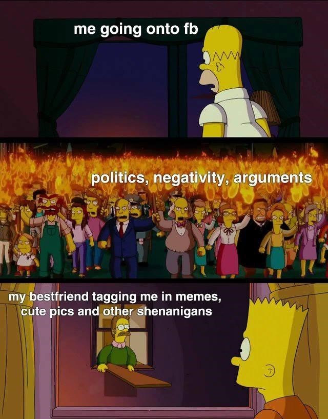 Cartoon - me going onto fb ww politics, negativity, arguments my bestfriend tagging me in memes, cute pics and other shenanigans
