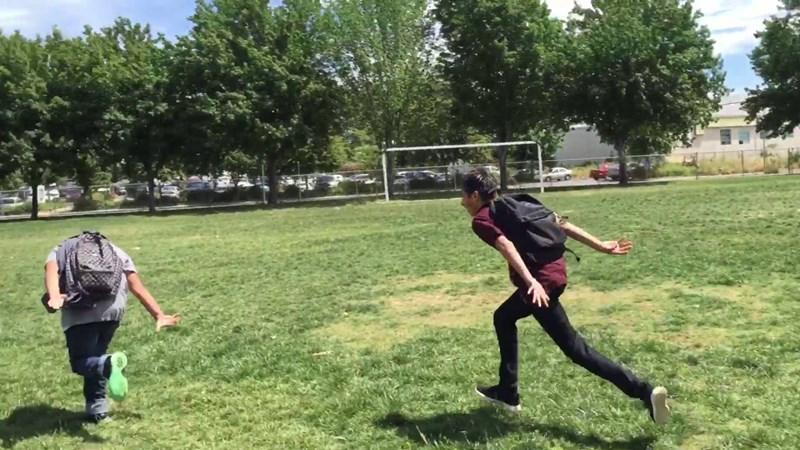Random teenager runs through news broadcast about the Area 51 raid running like a ninja from a Japanese cartoon