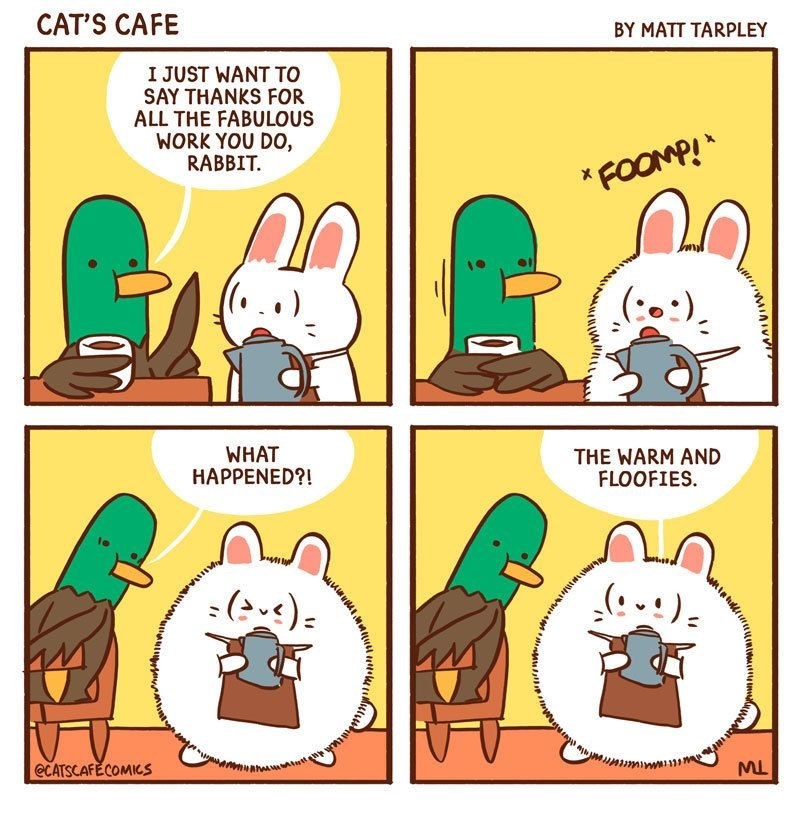 Cartoon - CAT'S CAFE BY MATT TARPLEY I JUST WANT TO SAY THANKS FOR ALL THE FABULOUS WORK YOU DO, RABBIT FOOMP! WHAT HAPPENED?! THE WARM AND FLOOFIES @CATSCAFECOMICS MtttW mimm w ML ym