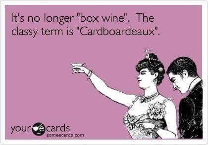 "Meme - Text - It's no longer ""box wine"". The classy term is ""Cardboardeaux"". your e cards someecards.com"
