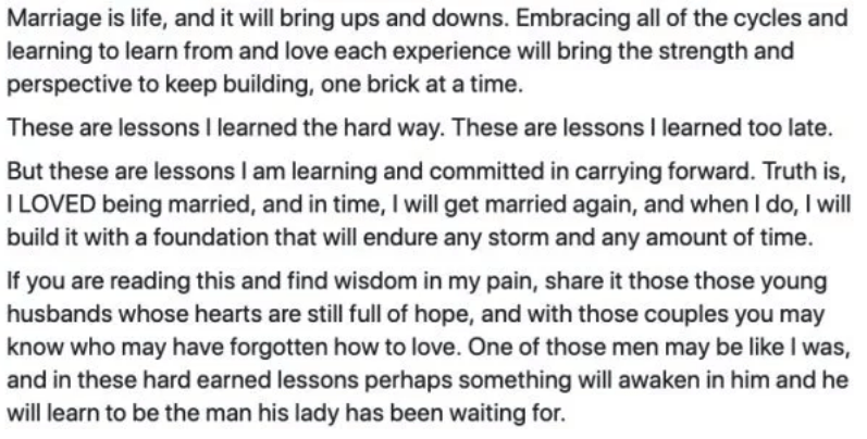marriage advice - Text - Marriage is life, and it will bring ups and down. rmbracing all of the cycles and learning to learn from and love each experience will bring the strength and perspective to keep building, one brick at a time. These are lessons I learned the hard way. These are lessons I learned too late