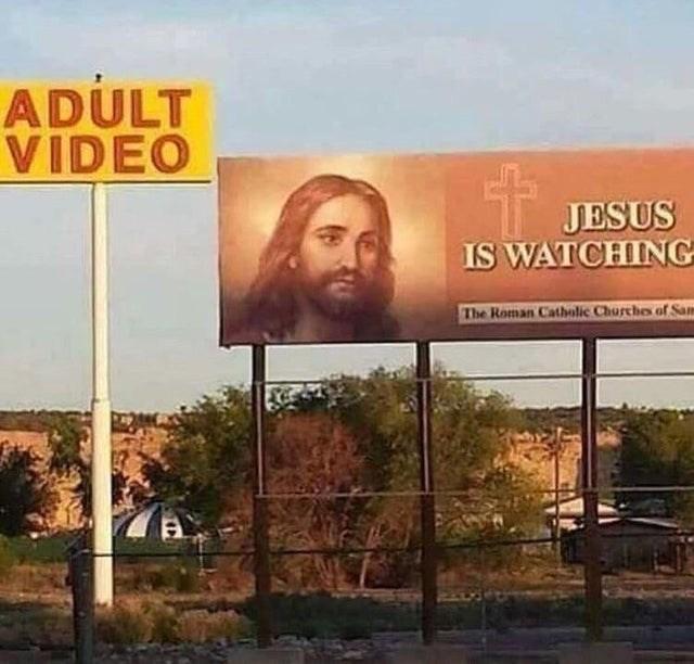 Billboard - ADULT VIDEO JESUS IS WATCHING The Roman Catholic Churches of Sa